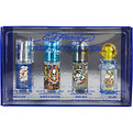 Ed Hardy Variety 4 Piece Mens Mini Set With Ed Hardy Love & Luck & Ed Hardy Hearts & Daggers & Ed Hardy Born Wild & Ed Hardy Villain & All Are Eau De Toilette Spray .25 oz for men by Christian Audigier