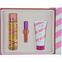 Pink Sugar Edt Spray 3.4 oz & Shower Gel 3.4 oz & Edt Rollerball Mini .33 oz for women by Aquolina
