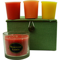 Candle Gift Box Chelsea Pink, Green & Yellow Plaid Box Set Contains One Persimmon & Quince Small Glass Vase & Three Votives Featuring Summer Citrus, Ginger Tea & Honey And Peaches & Cream for unisex by Candle Gift Box Chelsea