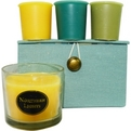 Candle Gift Box Stella Blue, Brown And Cream Striped Box Set Contains One Ginger Tea & Honey Small Glass Vase & Three Votives Featuring Lime Basil, Ocean Breeze And Ginger Tea & Honey for unisex by Candle Gift Box Stella