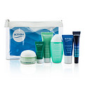 Biotherm Travel Set: Blue Therapy Serum + Aquasource Cream + Cleanser + Toning Lotion + Nuit Jelly + Deep Serum + Bag --6pcs+1bag for women by Biotherm